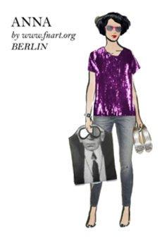 Virtuelle Anziehpuppe mit lila Glitzerdress und Karl Lagerfeld Tasche.