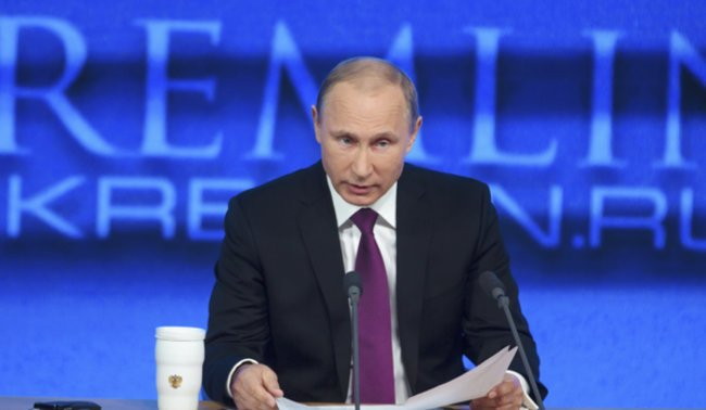 Präsident Putin bei einer Pressekonferenz im Dezember 2014