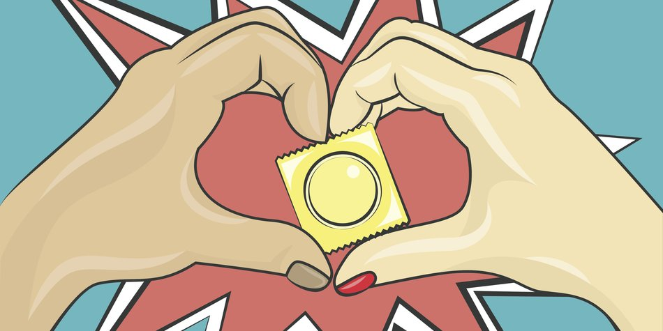 Male and female hands are holding a condom in yellow pack Pop art style