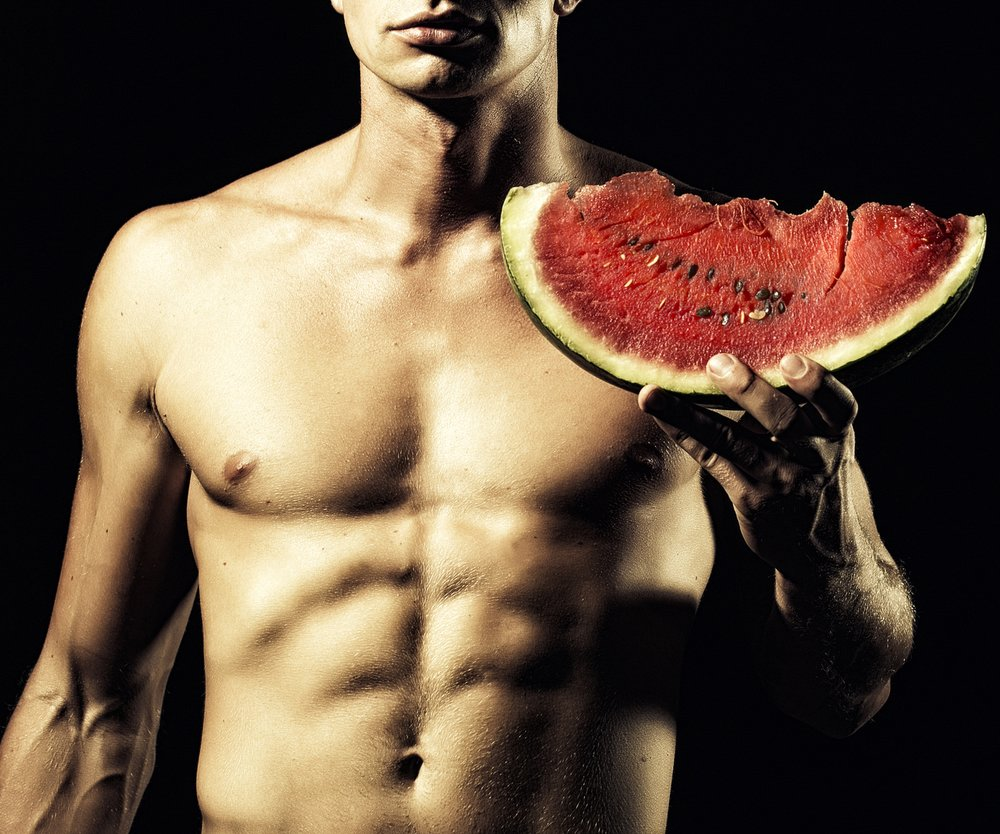 Man with water melon