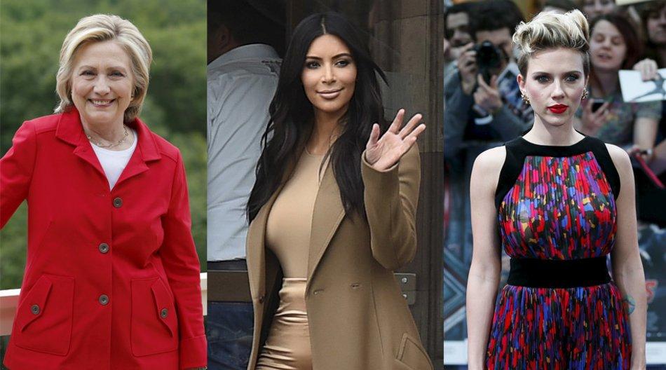 Hillary Clinton, Kim Kardashian, Scarlett Johansson