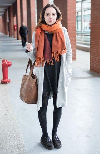 MADRID, SPAIN - FEBRUARY 28:  Virginia wears Lamarthe handbag, Primark  stockings, Bershka dress and Stradivarius coat on February 28, 2016 in Madrid, Spain.  (Photo by Pablo Cuadra/Getty Images)