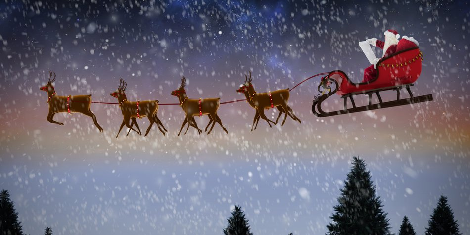 Side view of Santa Claus riding on sleigh during Christmas against snow falling on fir tree forest