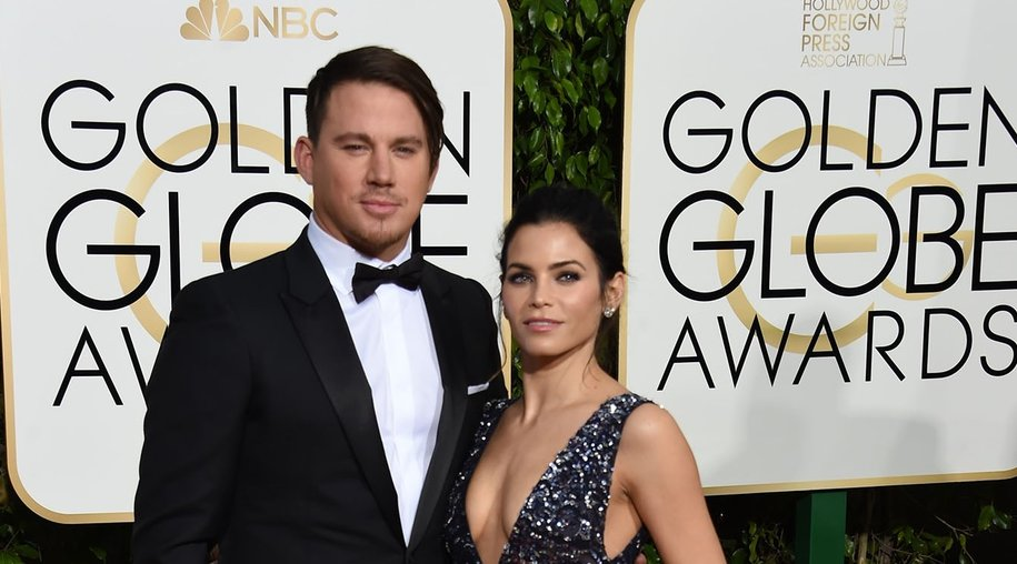 Channing Tatum (L) and Jenna Dewan Tatum arrive for the 73nd annual Golden Globe Awards, January 10, 2016, at the Beverly Hilton Hotel in Beverly Hills, California. AFP PHOTO / VALERIE MACON / AFP / VALERIE MACON (Photo credit should read VALERIE MACON/AFP/Getty Images)