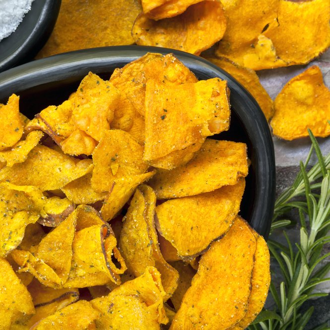 Sweet Potato Crisps with Rosemary and Sea Salt