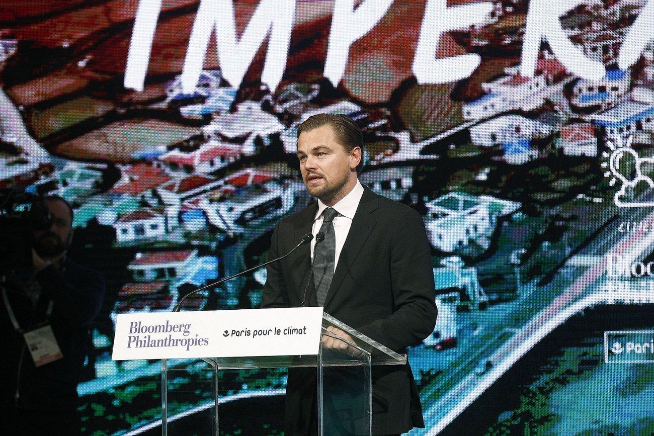 Leonardo DiCaprio hält eine Rede