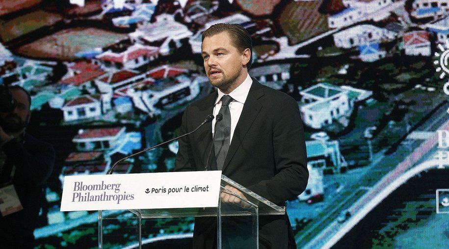 PARIS, FRANCE - DECEMBER 04: US actor Leonardo DiCaprio delivers a speech during the Summit of Local elected for Climate at the Paris city hall on December 04, 2015 in Paris, France. Thousand mayors from different cities gather at the Paris city hall during the COP21, Paris Climate Conference. (Photo by Thierry Chesnot/Getty Images)