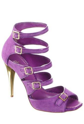 Violetter High Heel mit goldenem Absatz in Wildlederoptik von Alisha.