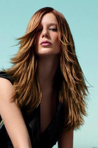 Lange braune und extrem durchgestufte Haare