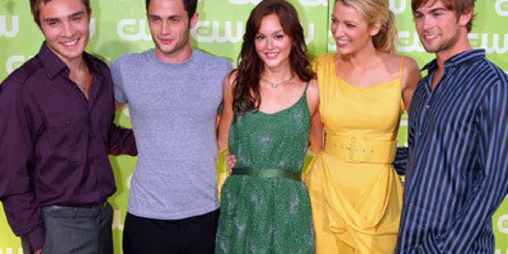 Die Gossip Girl Darsteller Ed Westwick (Chuck), Penn Badgely (Dan), Leighton Meester (Blair), Blake Lively (Serena) und Chace Crawford (Nate) auf einer Premiere