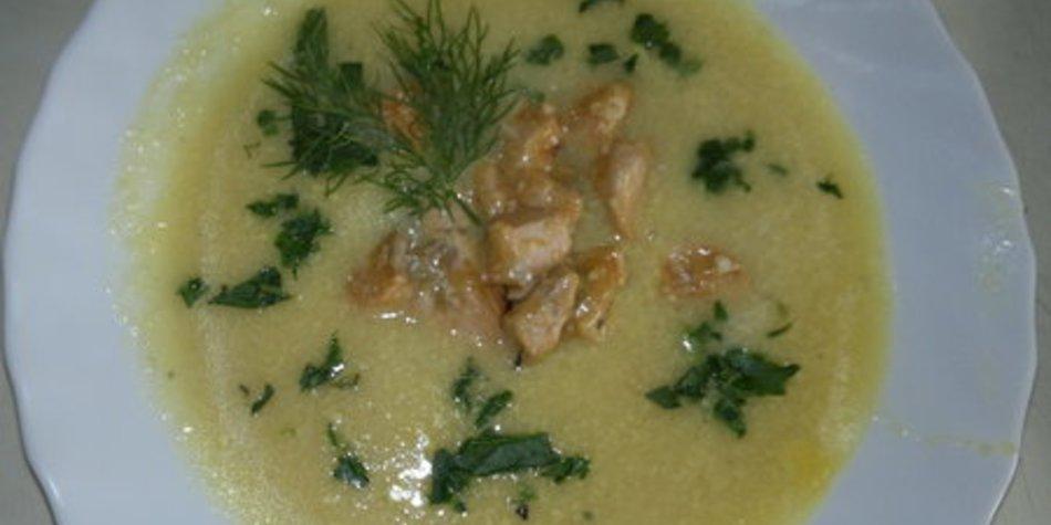 Kohrabicremesuppe mit Lachs oder krossem Bacon