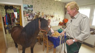 """Gregor (66), der hessische Cowboy, hat neuen Unfug ausgeheckt. Kurzerhand führt er seinen Lieblingshengst in die Küche, in der Beate (60) gerade kocht. Beate ist entsetzt. Verwendung der Bilder für Online-Medien ausschließlich mit folgender Verlinkung:""""Alle Infos zu """"Bauer sucht Frau"""" im Special bei RTL.de: http://www.rtl.de/cms/sendungen/bauer-sucht-frau.html"""