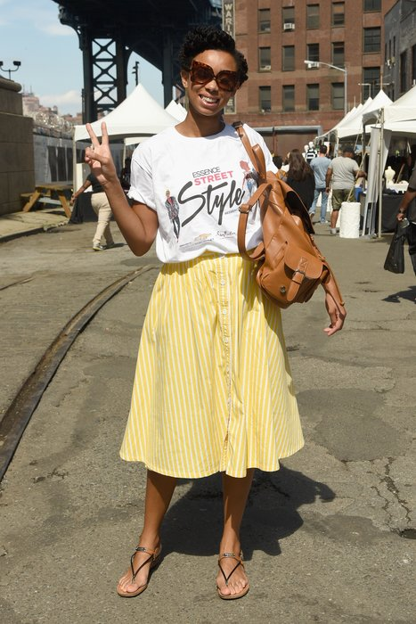 NEW YORK, NY - SEPTEMBER 13: A guest attends the 2015 Essence Street Style Block Party on September 13, 2015 in New York City. (Photo by Mike Pont/Getty Images for Essence)