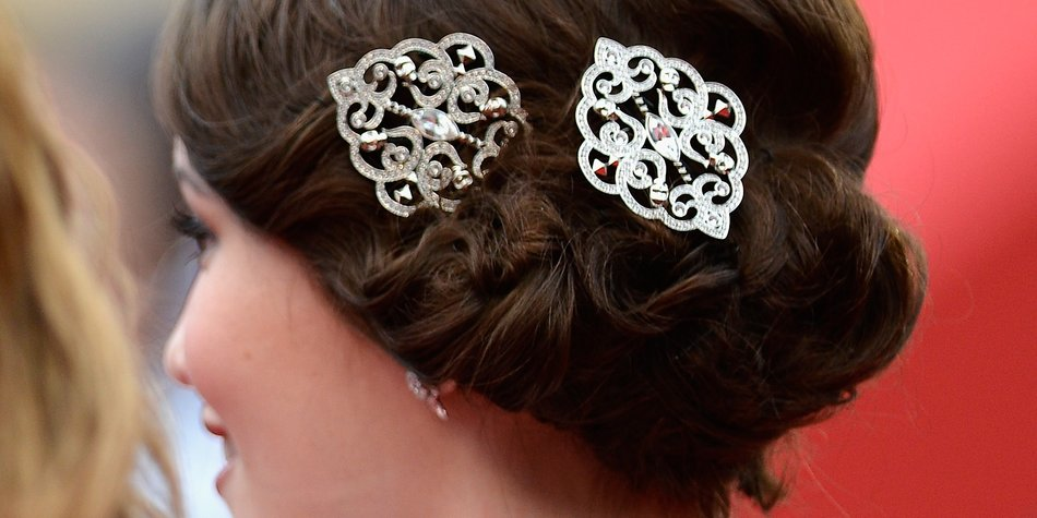 CANNES, FRANCE - MAY 16: A detail shot of the hair accessories worn by actress Katie Chang as she attends 'The Bling Ring' premiere during The 66th Annual Cannes Film Festival at the Palais des Festivals on May 16, 2013 in Cannes, France. (Photo by Pascal Le Segretain/Getty Images)
