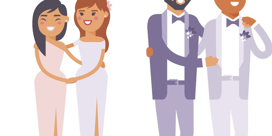 Happy gay couple in wedding attire and casual clothes. Gender civil union romance wedding gay couples together ceremony. Homosexual marriage happy groom wedding gay couples vector.