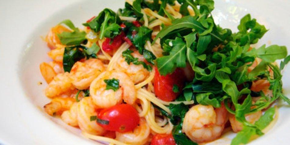 Spagetti mit Shrimps