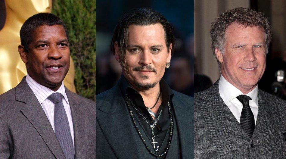 Denzel Washington, Johnny Depp, Will Ferrell