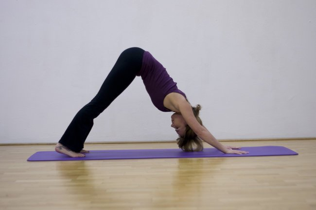 der nach unten schauende Hund oder herabschauende Hund ist eine klassische Yoga und Pilates Übung.