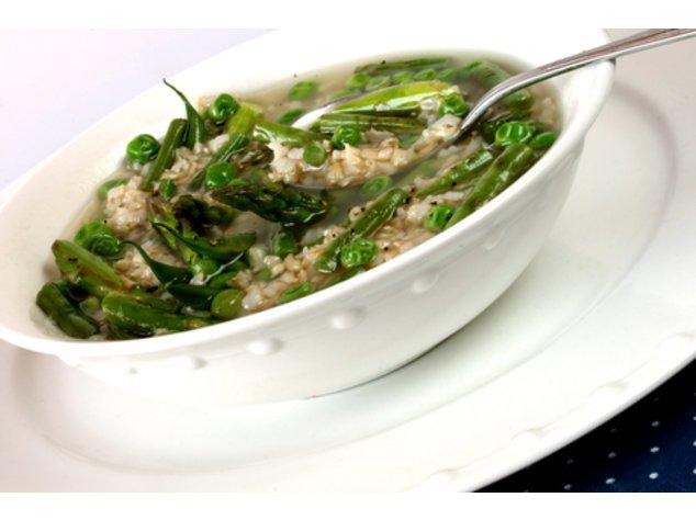 Minestrone mit Reis servierfertig