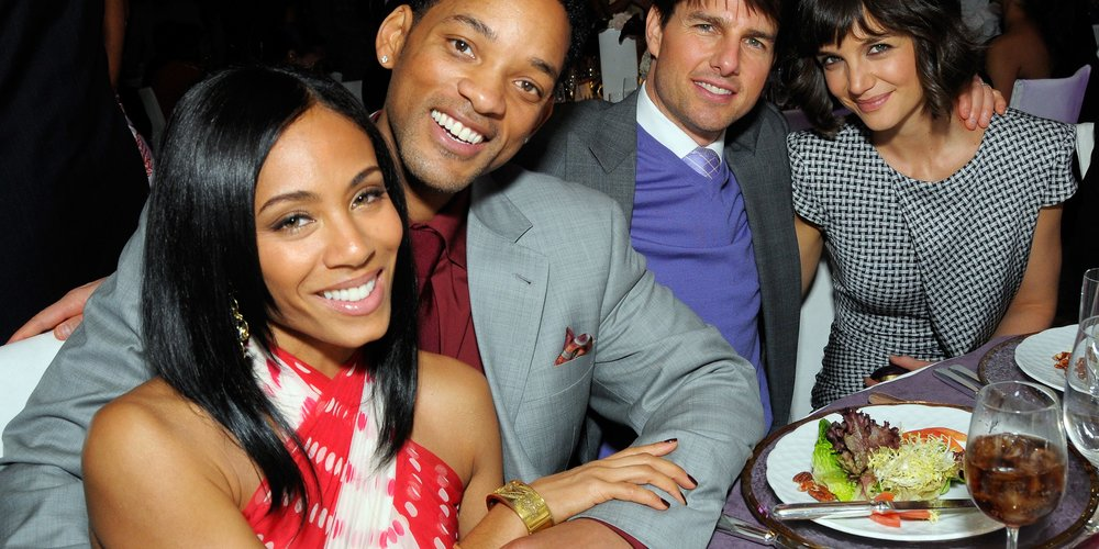 LOS ANGELES, CA - FEBRUARY 21: (L-R) Jada Pinkett, Will Smith, Tom Cruise and Katie Holmes poses at the First Annual Essence Black Women In Hollywood Luncheon, at the Beverly Hills Hotel on February 21, 2008 in Beverly Hills, California. California. (Photo by Charley Gallay/Getty Images for Essence)