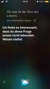 Lustige Siri-Fragen Der Sinn des Lebens