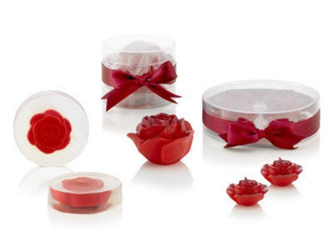 Geschenkidee: rosenkerzen und Rosenseifen