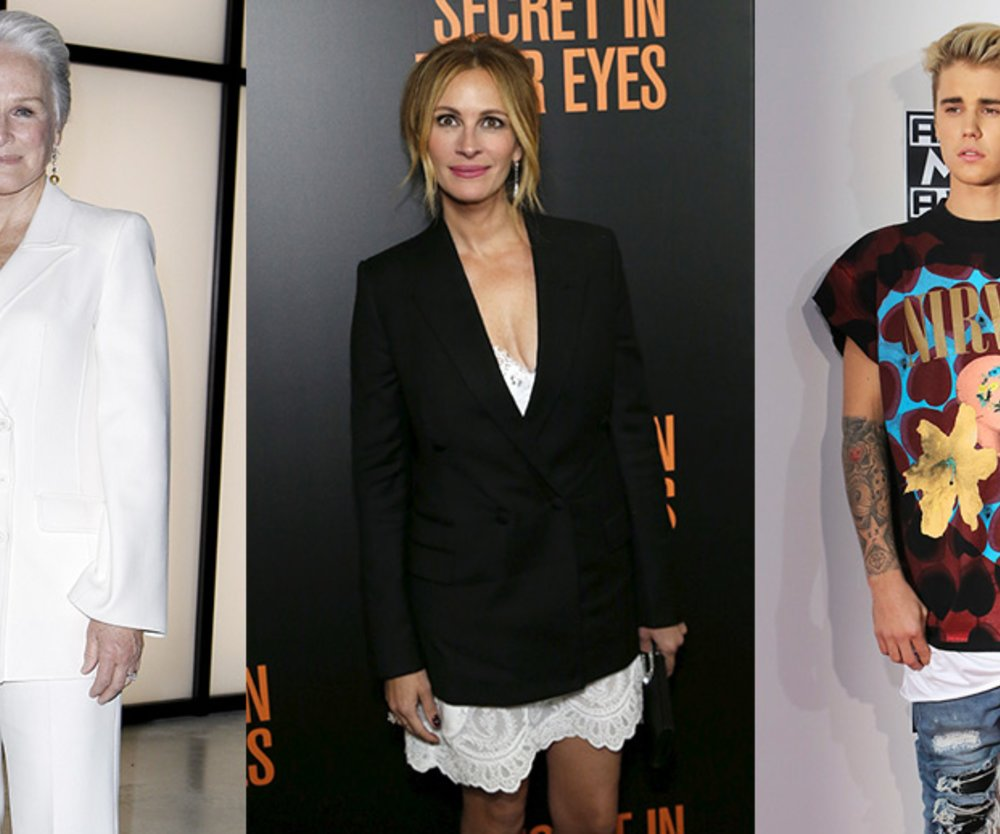 Justin Bieber, Julia Roberts, Glenn Close