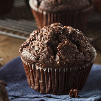Homemade Dark Chocolate Muffins to Eat at Breakfast