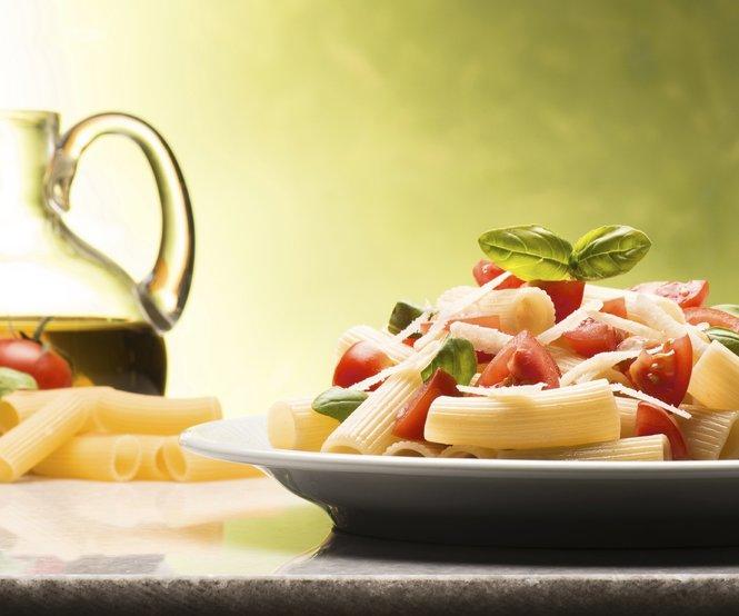 Macaroni with tomatoes parmesan and basil