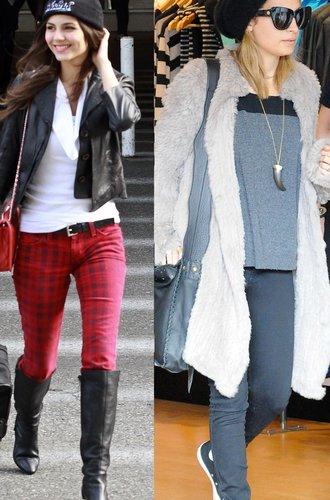 Nicole Richie und Victoria Justice tragen schwarze Beanies
