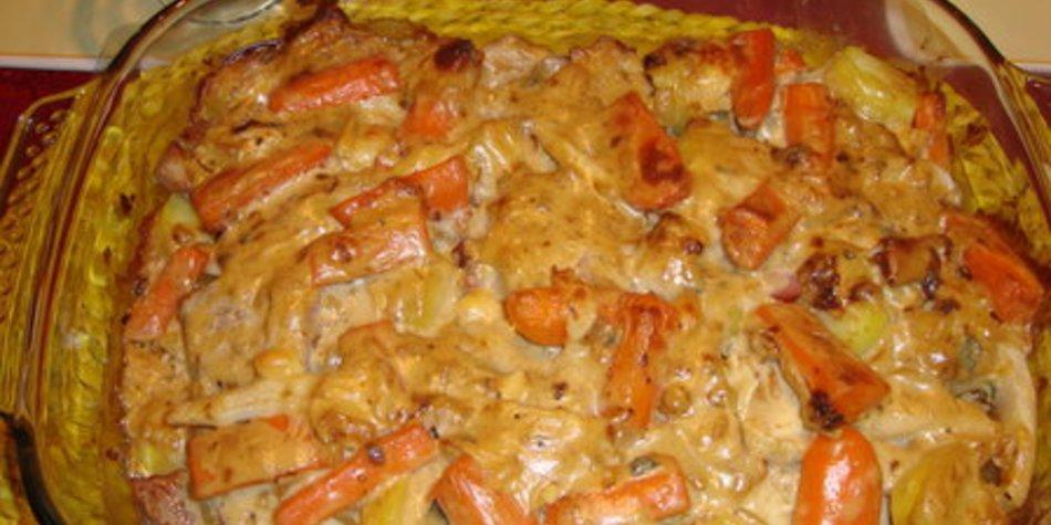 Kartoffelgratin mit Filet und Gorgonzolasose
