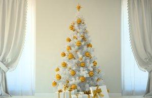 Weihnachtsbaumschmuck weiß und gold
