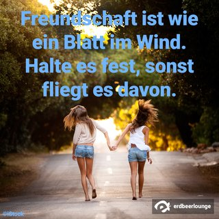 Freundschaft ist wie ein Blatt im Wind. Halte es fest, sonst fliegt es davon.