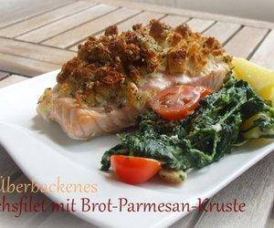 Überbackenes Lachsfilet mit Parmesan-Brot-Kruste