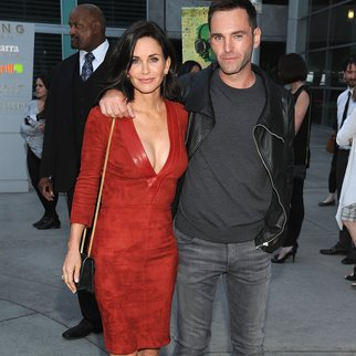 "HOLLYWOOD, CA - APRIL 20: Director Courteney Cox and musician Johnny McDaid attend the Los Angeles Special Screening of ""Just Before I Go"" at ArcLight Hollywood on April 20, 2015 in Hollywood, California. (Photo by Angela Weiss/Getty Images for Darin Pfeiffer Consulting)"