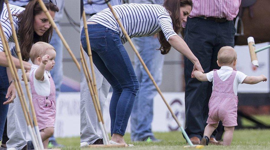Mit Mamas Hilfe unternimmt Prinz George die ersten Gehversuche.