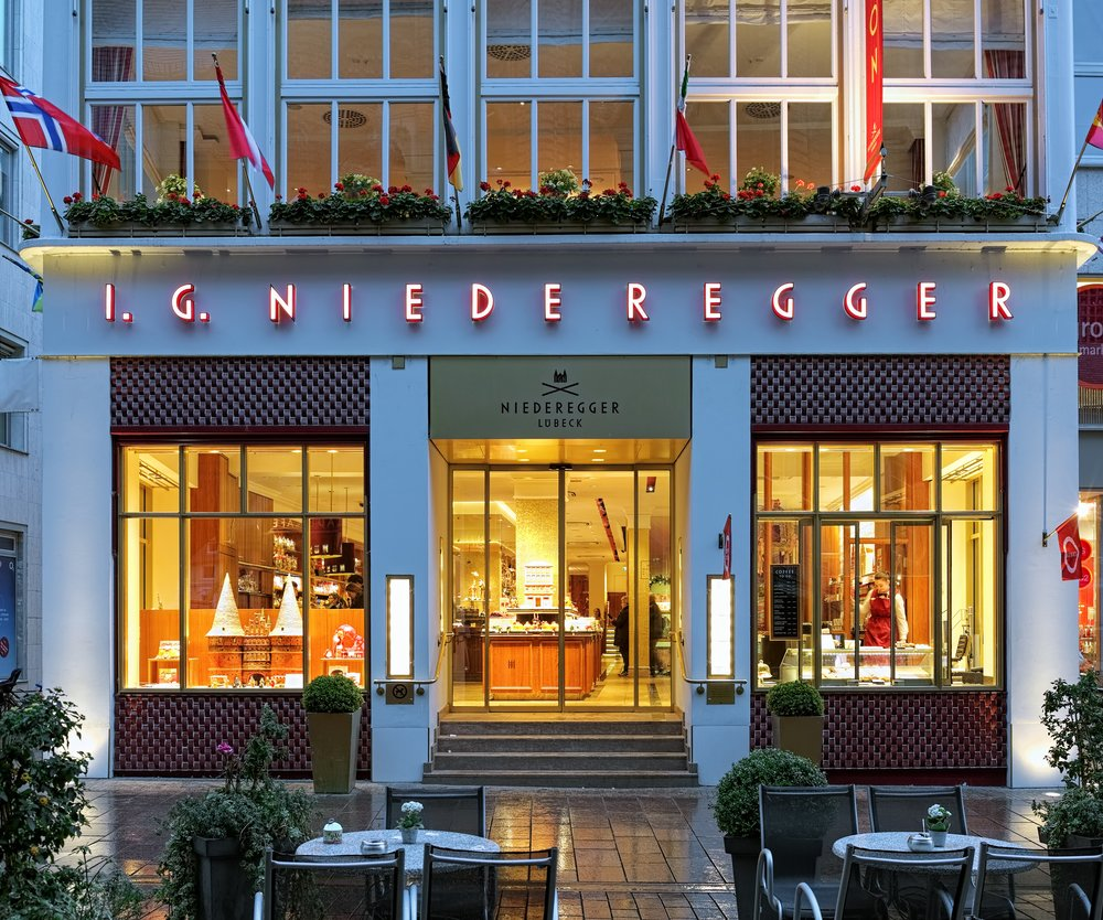 Lubeck, Germany - October 20, 2016: Niederegger-Cafe - a shop, cafe and museum of marzipan. J. G. Niederegger company is a world famous producer of marzipan and sweets; it was founded on March 1, 1806.
