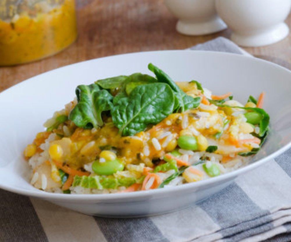 Reispfanne mit Kokosmilch