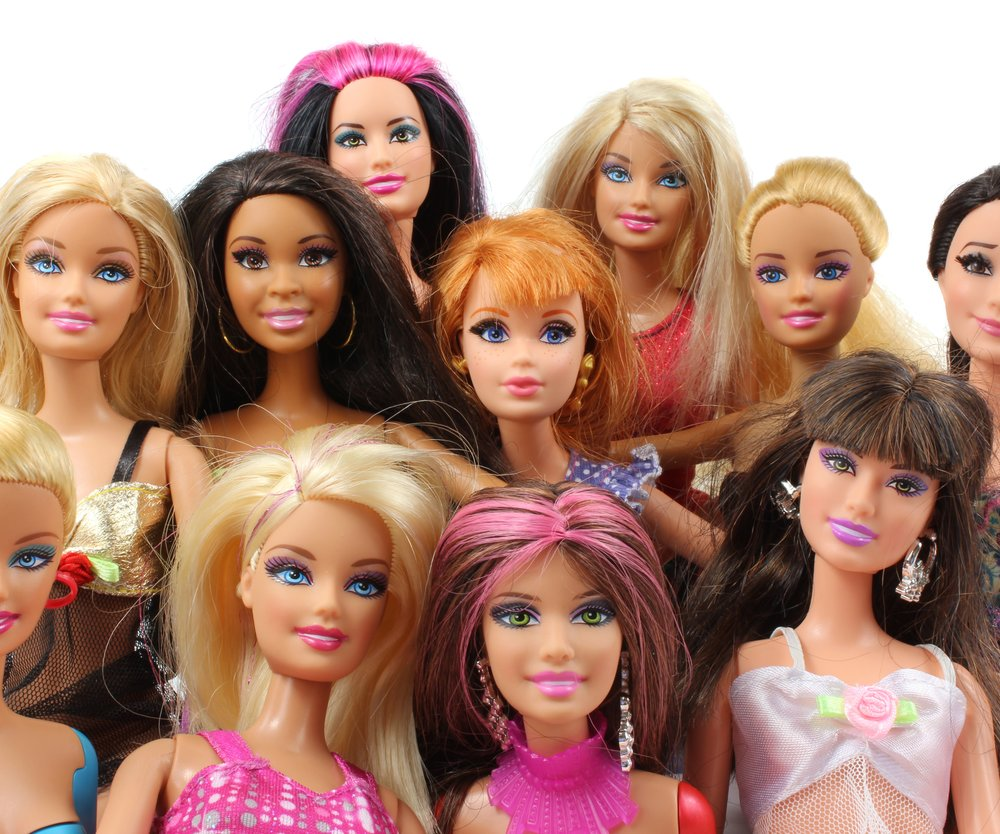 Trowbridge, Wiltshire, UK - April 23, 2014: Photograph of 11 Barbie Dolls from the toy company Matel.