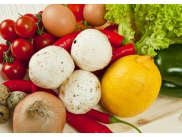 Gemüse, Champignons, Tomaten, Zwiebeln