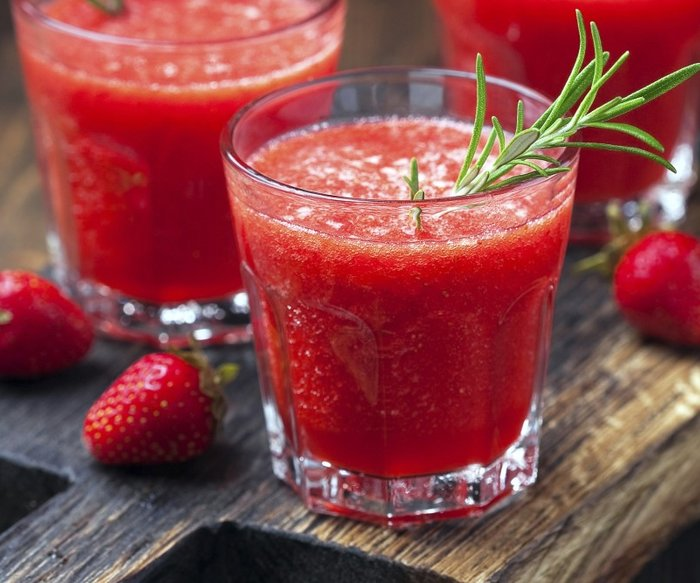Strawberry Smoothie with rosemary, selective focus