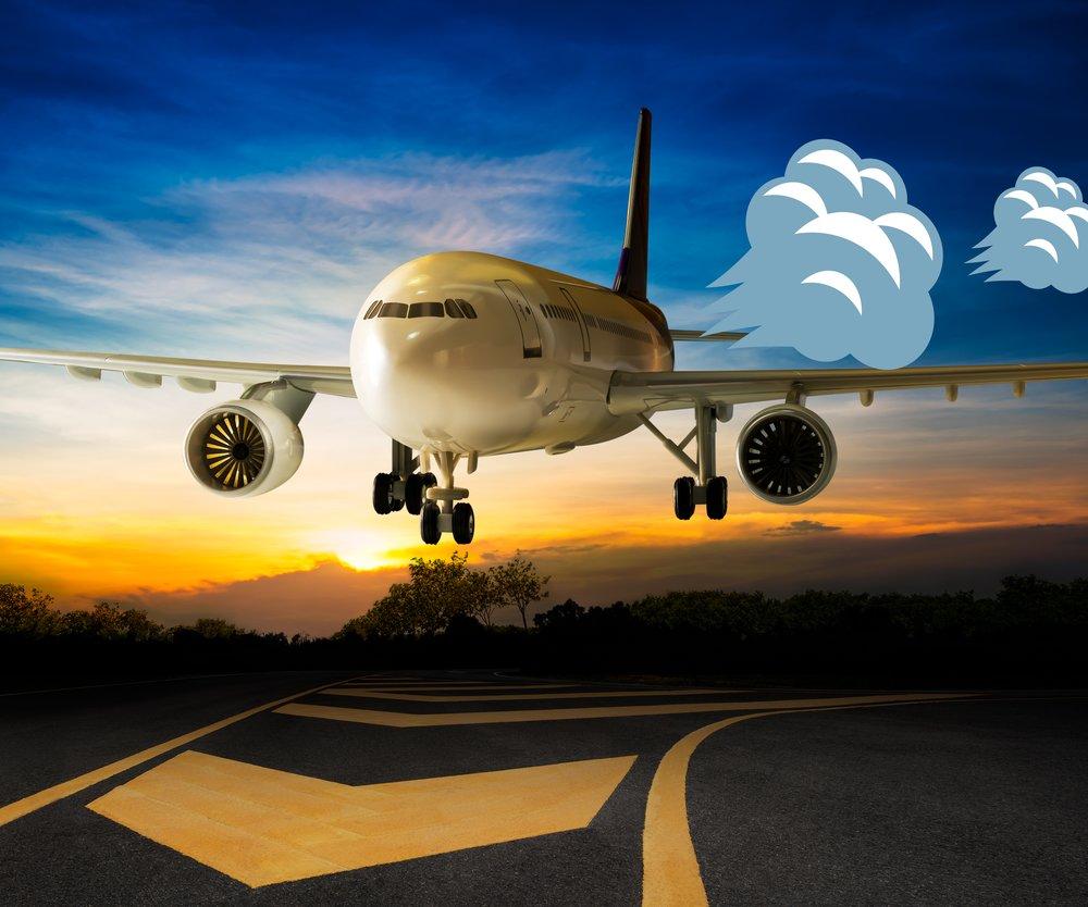 Flugzeug mit Pups-Wolken