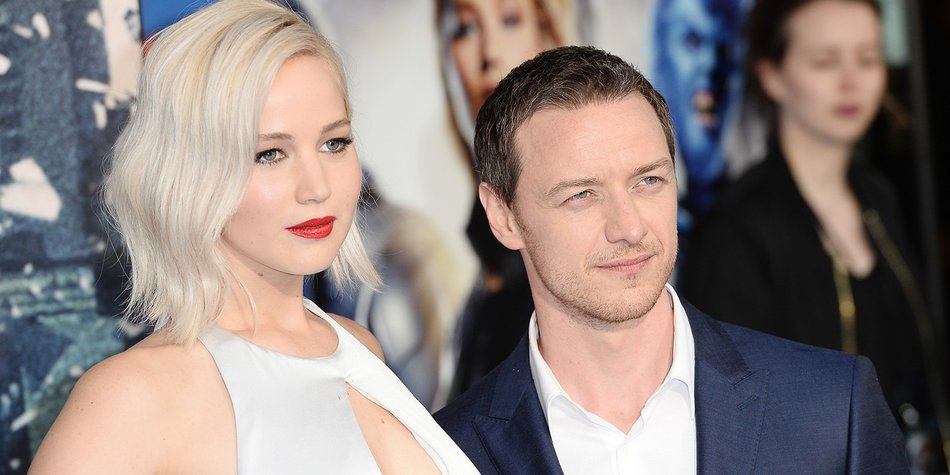 """LONDON, ENGLAND - MAY 09: (L-R) Jennifer Lawrence and James McAvoy attend a Global Fan Screening of """"X-Men Apocalypse"""" at BFI IMAX on May 9, 2016 in London, England. (Photo by Jeff Spicer/Getty Images)"""