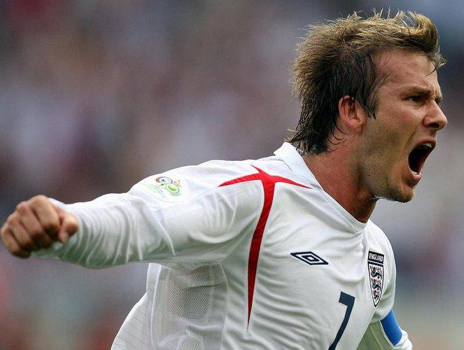 David Beckham auf einem Fußballspiel im Jahr 2002