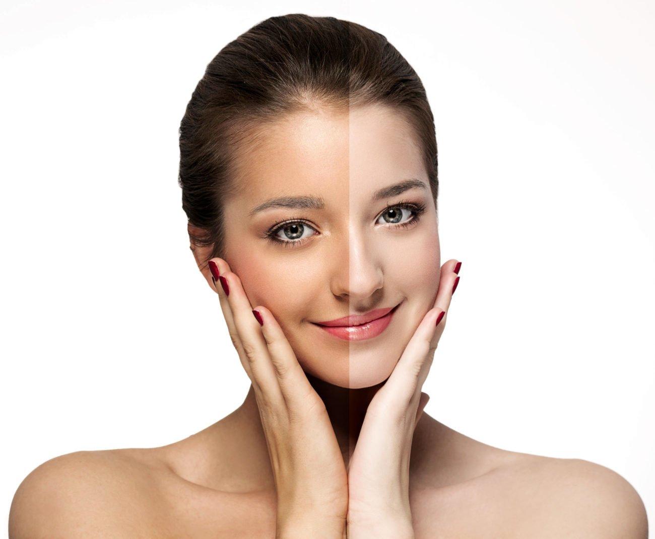 Frau mit braunen und blassem Gesicht