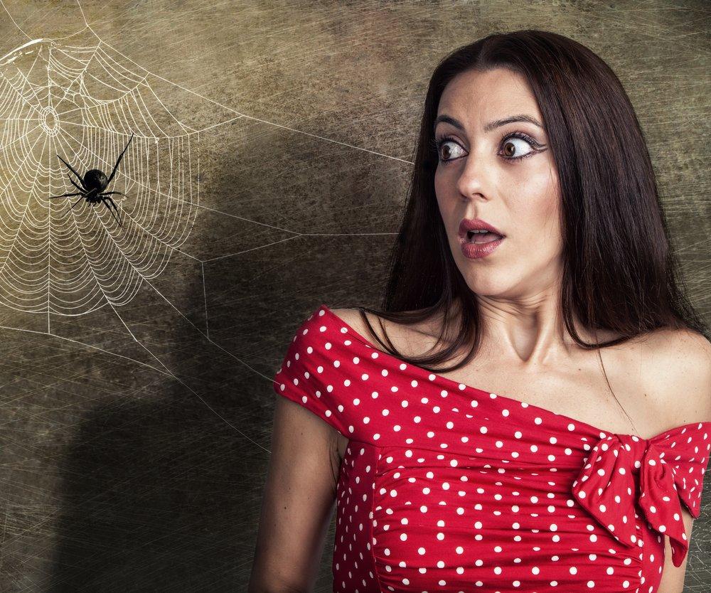 Frau hat Angst vor Spinnen