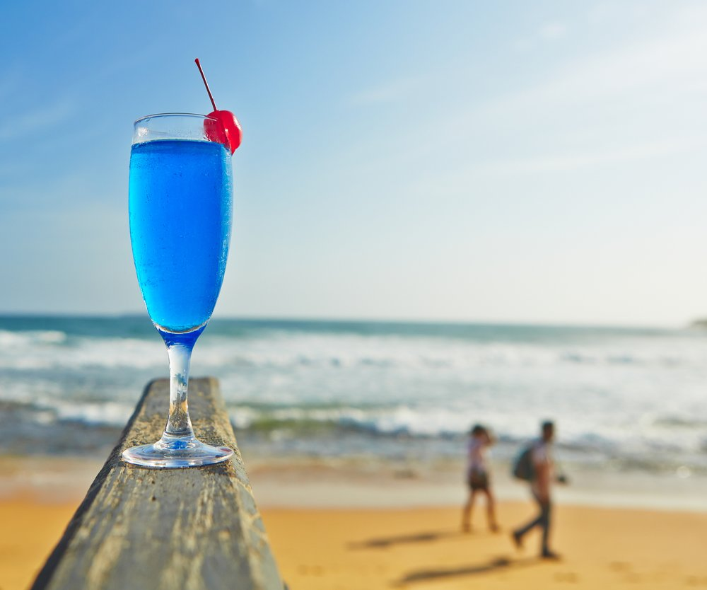 Blue lagoon drink on the beach, Sri Lanka