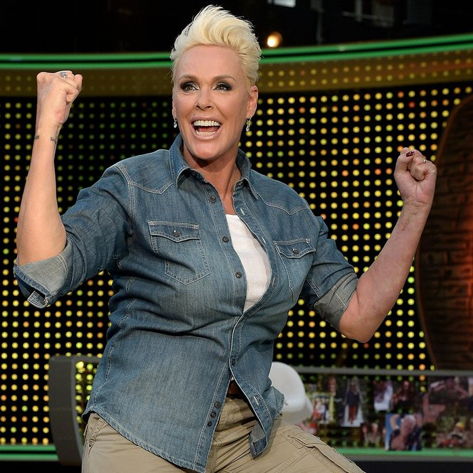 HUERTH, GERMANY - AUGUST 08: Brigitte Nielsen reacts after winning the final of the television show 'Ich bin ein Star - lasst mich wieder rein!' (English: I'm a Celebrity... Get Me In There) on August 8, 2015 in Huerth, Germany. (Photo by Sascha Steinbach/Getty Images)