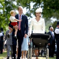 KING'S LYNN, ENGLAND - JULY 05: Catherine, Duchess of Cambridge, Prince William, Duke of Cambridge, Princess Charlotte of Cambridge and Prince George of Cambridge walk past crowds as they leave the Church of St Mary Magdalene on the Sandringham Estate after the Christening of Princess Charlotte of Cambridge on July 5, 2015 in King's Lynn, England. (Photo by Mary Turner - WPA Pool/Getty Images)