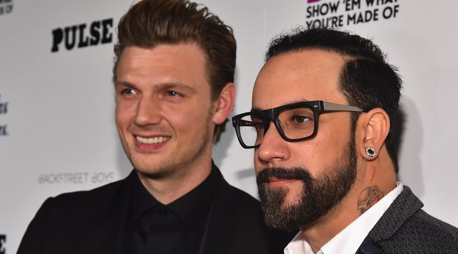 """HOLLYWOOD, CA - JANUARY 29: Singers Nick Carter and A.J. McLean attend the premiere of Gravitas Ventures' """"Backstreet Boys: Show 'Em What You're Made Of"""" at on January 29, 2015 in Hollywood, California. (Photo by Alberto E. Rodriguez/Getty Images)"""